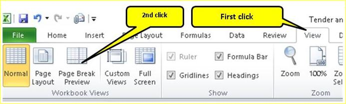 Excel Printable view set up