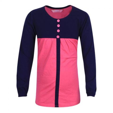 TONNI'S COLLECTION Navy Blue and Pink Soft Cotton Dress For Girls