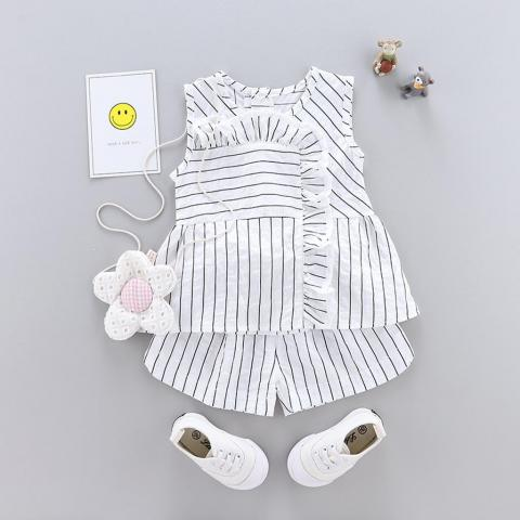 Rainbowroom Infant Baby Girl Summer Ruffles Stroped Sleeveless Tops Shirt+Shorts Pants Sets