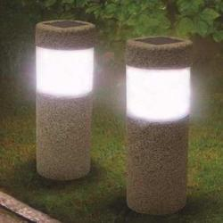 1pc Solar Power Stone Pillar W hite LED Solar Lights Outdoor Garden Light Lawn Lamp Court yard Decoration Lamp 5W Gray