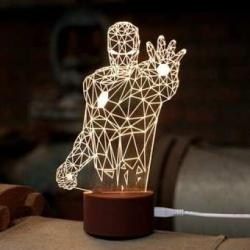 Unique 3D Table Lamp Ironman 3D Engrave Table Lamp Art Home Decor