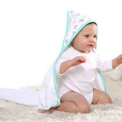 Baby Market Bath Towel With Nice Handkerchief for Baby - White