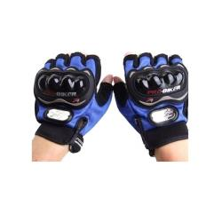 Pro-Biker Bicycle Carbon Half Finger Gloves – Black and Blue