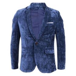 Gentle Park Light Blue Woolen Cotton Blazer for Men