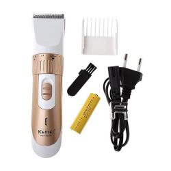 Kemei KM-9020 Rechargeable Hair Clipper Trimmer - White and Gold