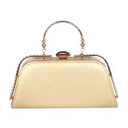 Singapore Fashion Gold Leather Hand Bag For Women