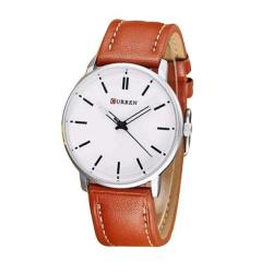 Curren Brown PU Leather Wrist Watch for Men