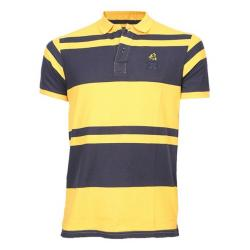 18 Degree Cotton Casual Short Sleeve Polo - Navy and Yellow Stripe