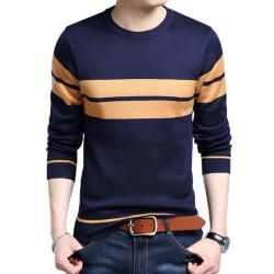 Aristo Navy Blue Cotton Long Sleeve Sweater for Men