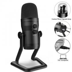 FIFINE K690 USB Microphone (Blue Yeti Killer) With 4 Polar Patterns, Gain Dials, Live Monitoring & A Mute Button