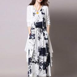 Women Cotton Linen neck Cardigan Mid-length Two-piece Dress