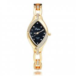 Gold Rhinestone Bracelet Casual Stainless Steel Oval Crystal Ladies Watch