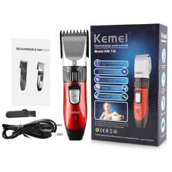 Kemei KM-730 Rechargeable Wireless Hair Trimmer For Men - Black and Red