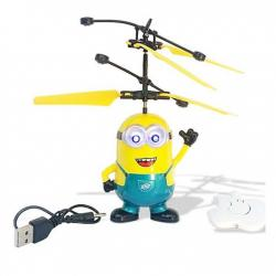 Flying Minion Helicopter Toy for Kids - Yellow and Blue