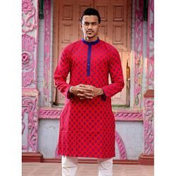 Ritzy Outfits Red Cotton Panjabi For Men